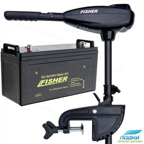 Электромотор Fisher 32 аккумулятор Gel 90Ah